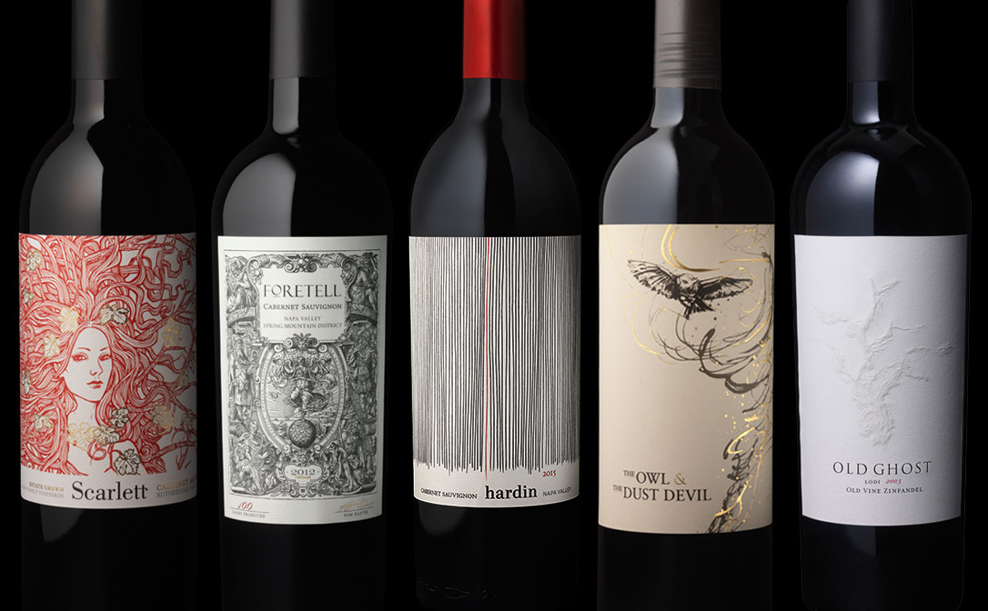 This is a photo of Decisive Wine Bottles and Labels