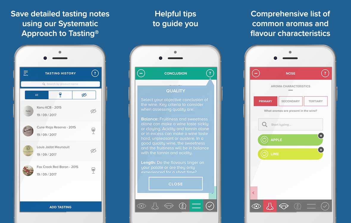 Download our app, WSET tasting notes - wine