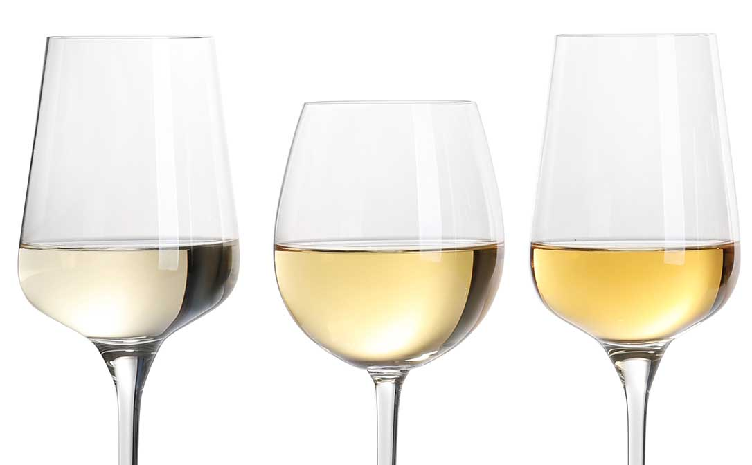 Shades of white wine, from pale to more golden