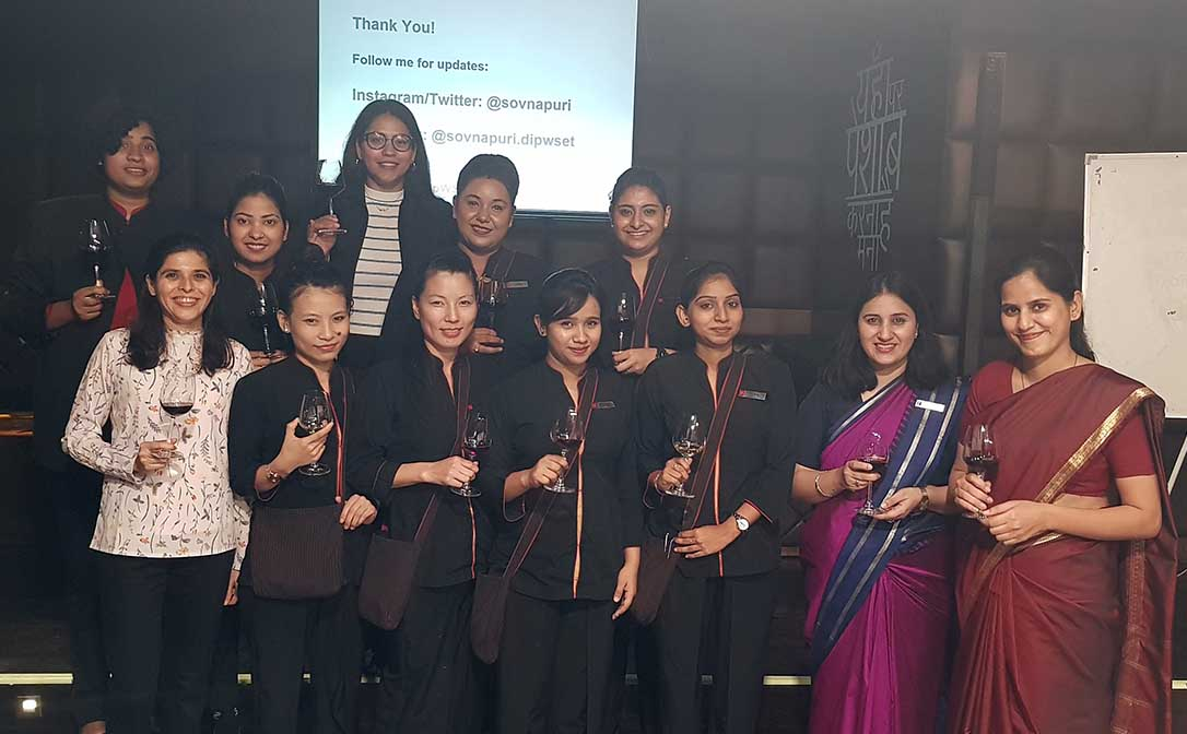 Attendees pose together with their teacher, Sovna Puri DipWSET, at WSET's first all-women course (Level 1 Award in Wines) in India.